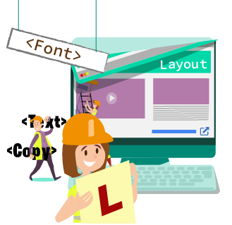 User experience for beginners - woman in a hardhat and holding a learner's sign while a man carries code in the background