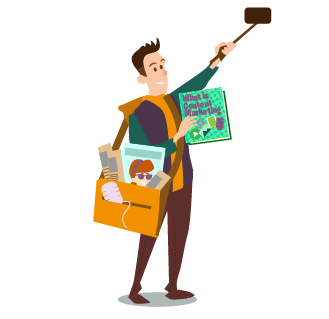 Content Marketing Guide Part 1: What is Marketing - man holding up phone o na selfie stick and carrying a magazine called What is Content Marketing. He is carrying a bag full of other print media and a microphone