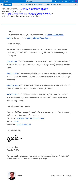YNAB email example