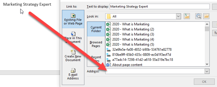 Adding links in word
