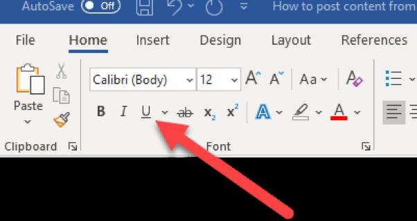 How to underline in word