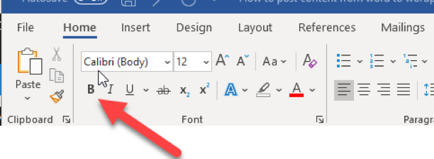 Make text bold in word