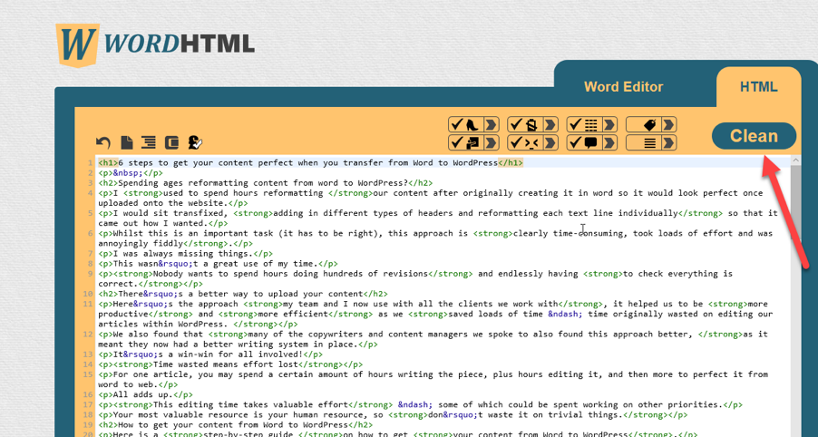 cleaning up html
