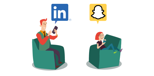 Linkedin for business, snapchat for young people