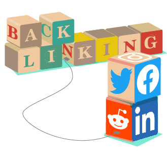 Basics of Backlinking Guide - colourful wooden blocks stacked with individual letters that spell out 'backlinking' plus additonal scattered blocks depicting social media logos