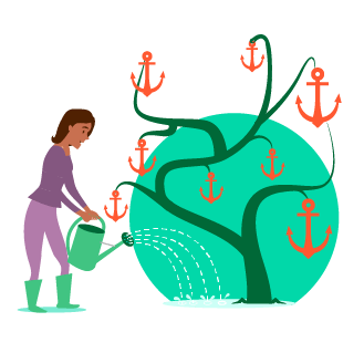 Anchor text - woman watering a plant with a watering can, plant is growing anchors instead of flowers or fruit