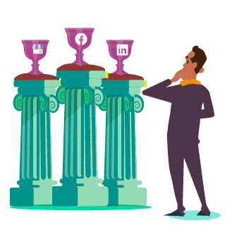 Man in purple suit weighing up three trophies on individual pillars each with different social media platform logo; facebook, linkedin and Google My Business