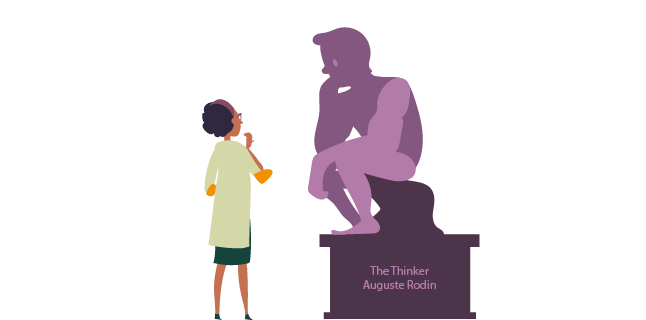 Theorising and thinking - maybe like The Thinker sculpture by Rodin?