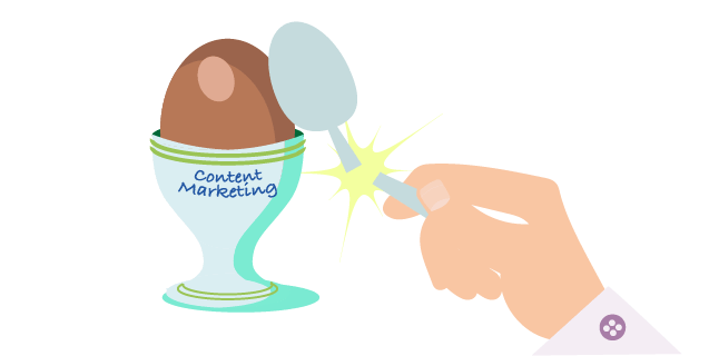 Image: content marketing as a hard egg to crack