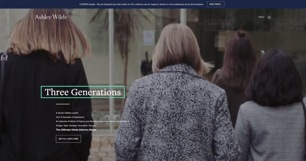 Ashley Wilde Website Homepage Three Generations Campaign