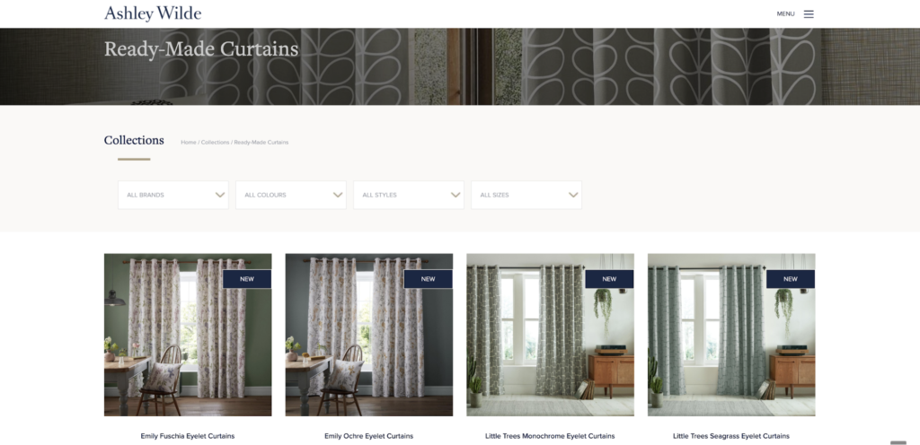 Website Ready-Made Curtains Page