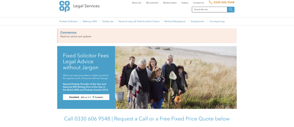 Co-op legal services homepage