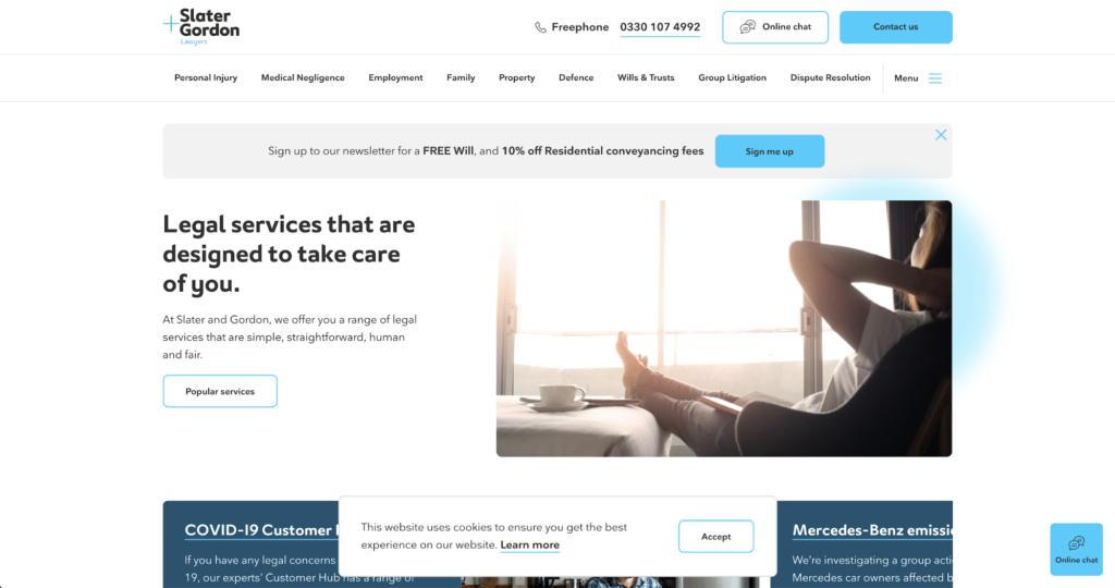 Slater Gordon Lawyers website homepage