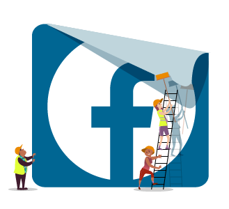 Facebook Ads - group of people including woman on ladder pasting up a poster of Facebook's logo