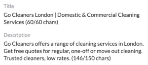 Go Cleaners Website Page Title and meta description
