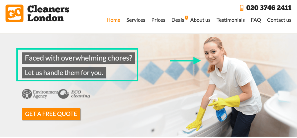 Go Cleaners Website Header