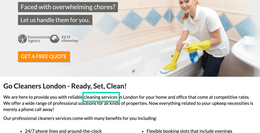 cleaning service keyword on go cleaners website