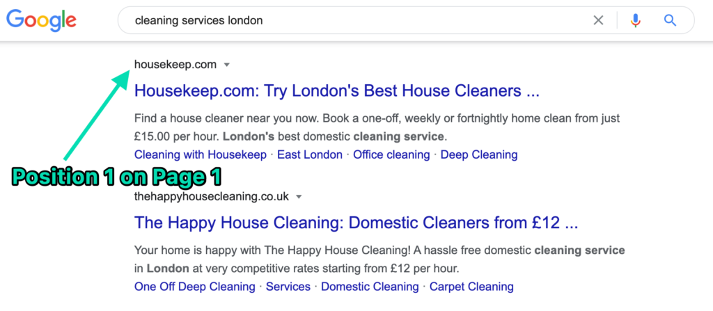 House Keep position 1 on Google for cleaning services