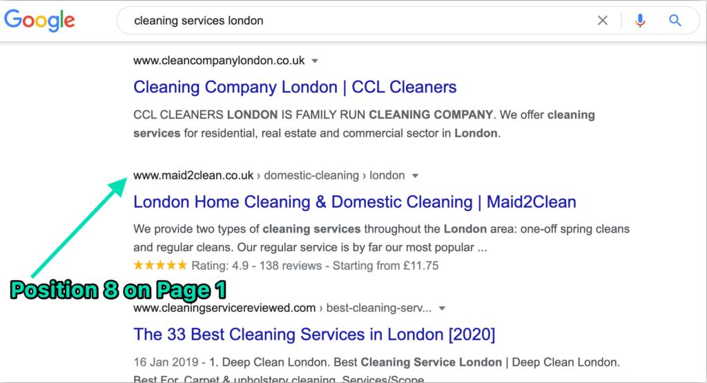 Maid2Clean Google position