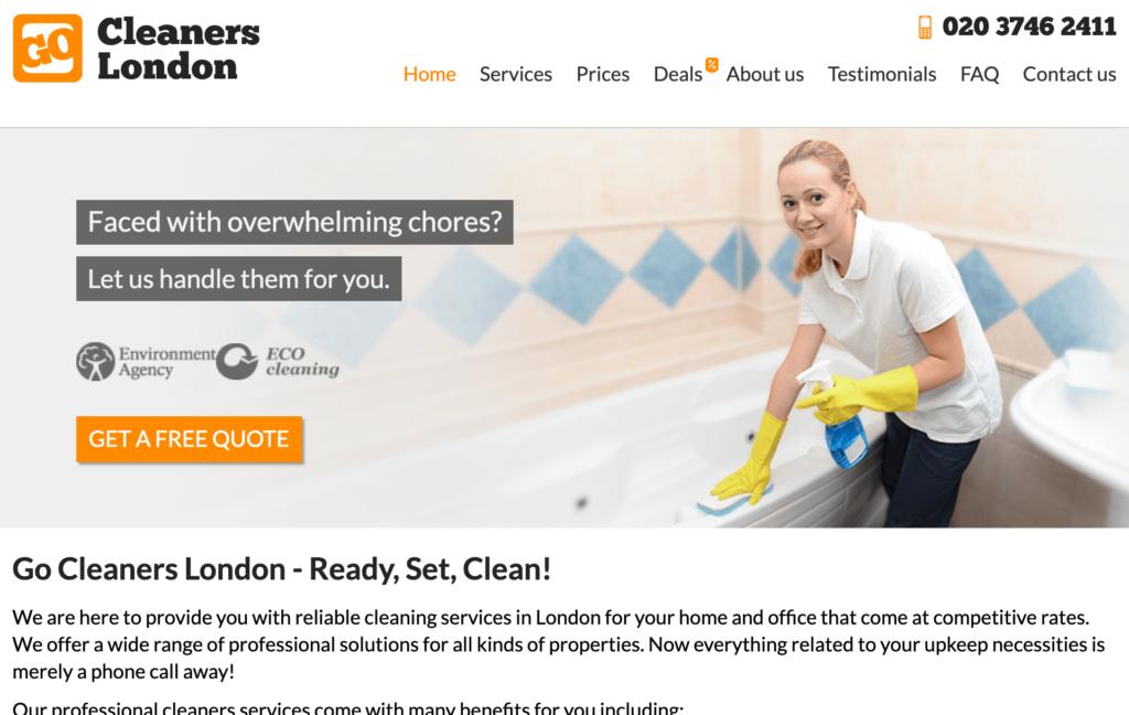 Go Cleaners Website Homepage