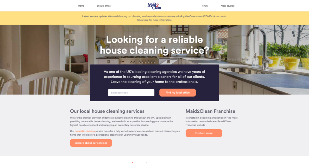 Made 2 Clean Homepage