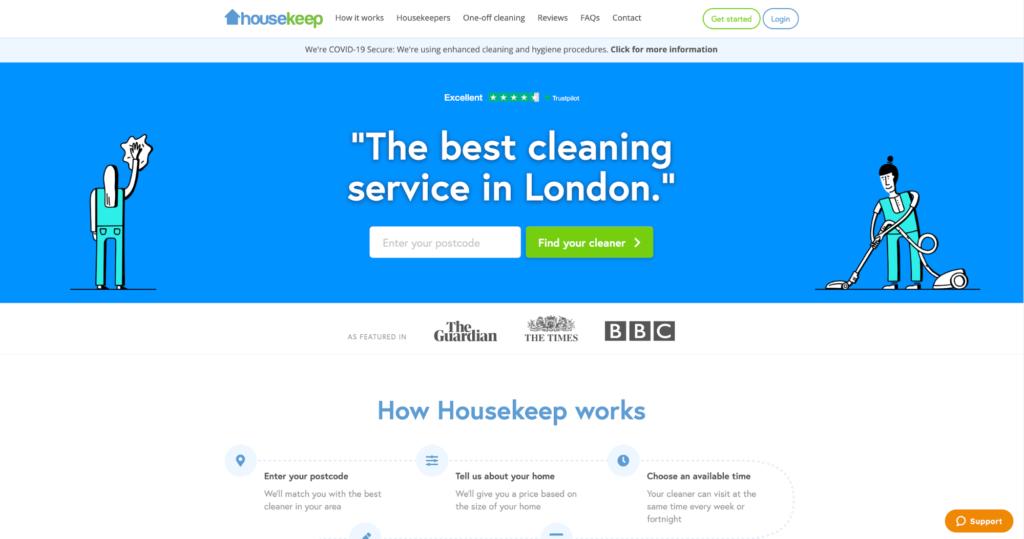 House Keep Website Homepage