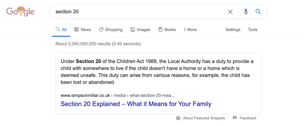 Marketing for Legal firms Featured Snippet Simpson Millar Section 20