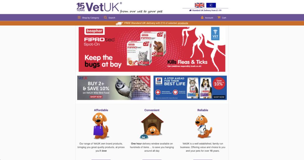 VetUK website homepage