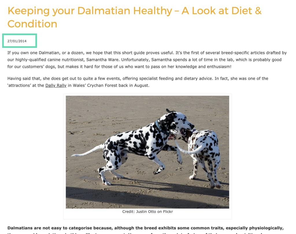 Gilbertson & Page webiste dalmation blog post