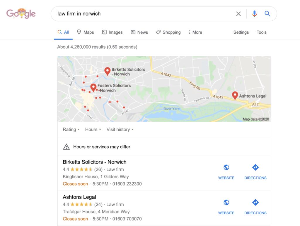 Google search law firm in norwich
