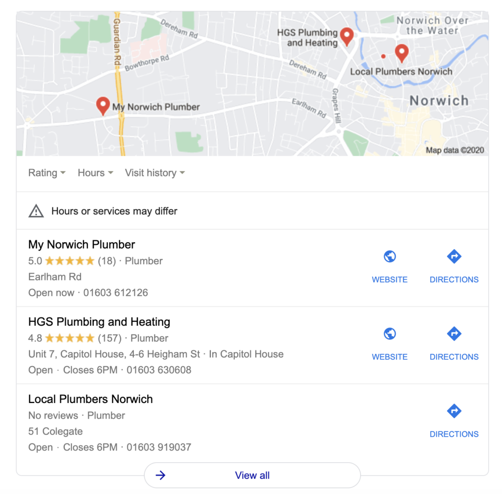 backlinking strategies directories Google results for plumbers norwich