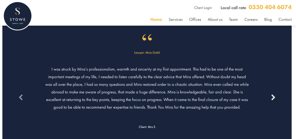 Stowe Family Law legal content marketing example