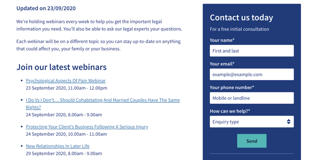 content marketing for legal firms Irwin Mitchell uses webinars