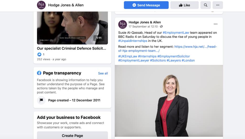 Hodge, Jones & Allen Social Media