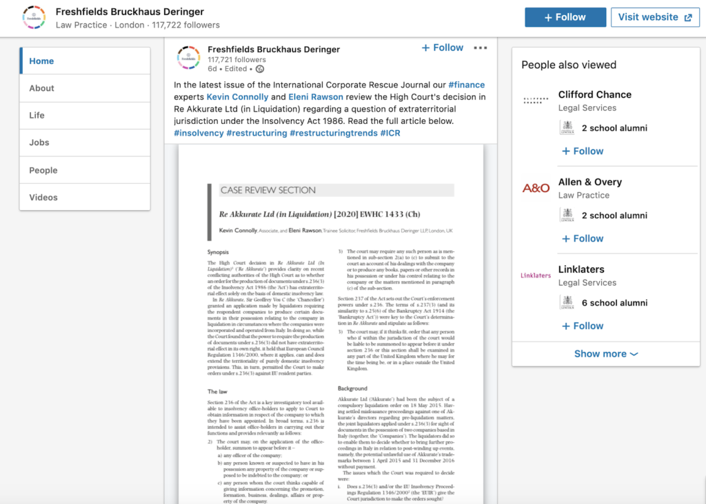legal content marketing for legal firms example; published journals