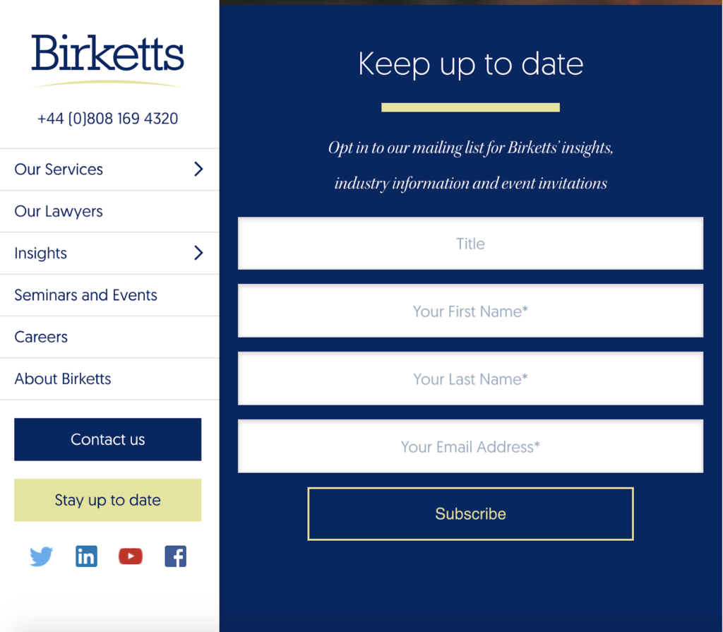 Birketts content marketing for legal firms, email marketing