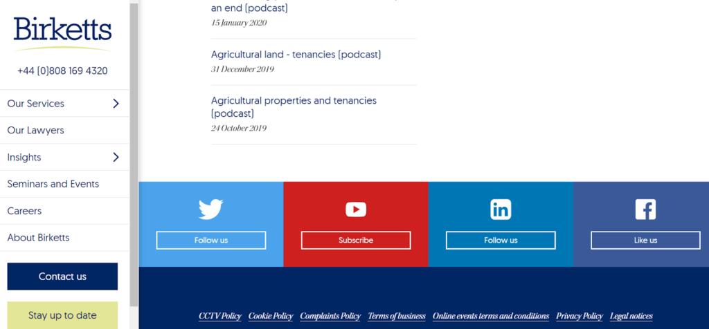 Birketts legal content marketing example