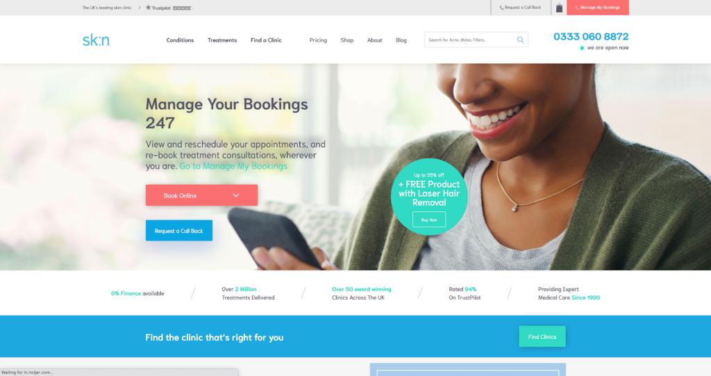 sk:n clinic website dermatology manchester