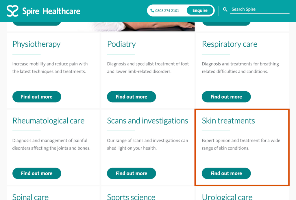 treatment areas page on Spire for dermatology