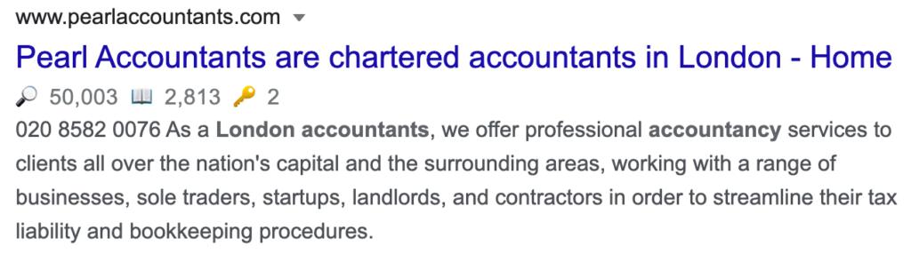 pearl accountants website analysis