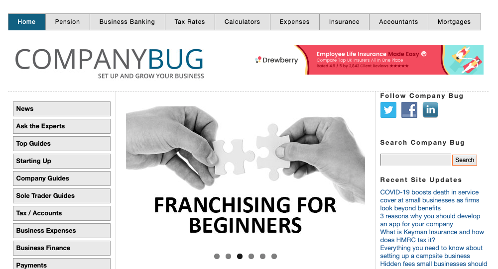 Company Bug homepage