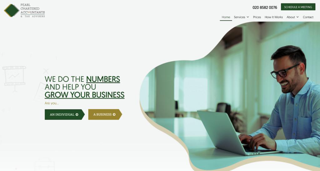 Pearl Accountants Website Homepage