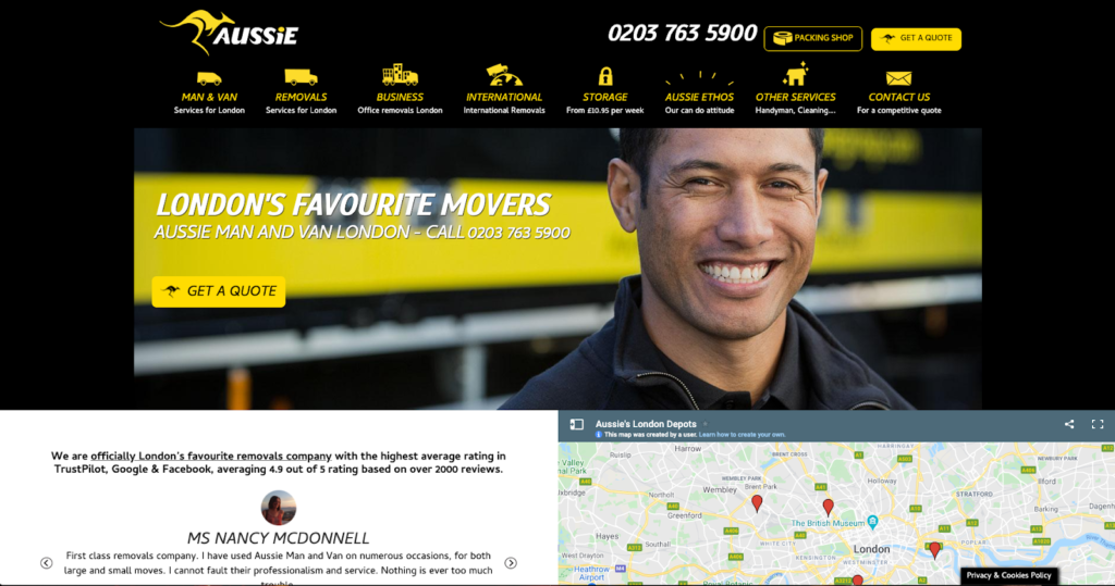 The Aussie Group removals london homepage