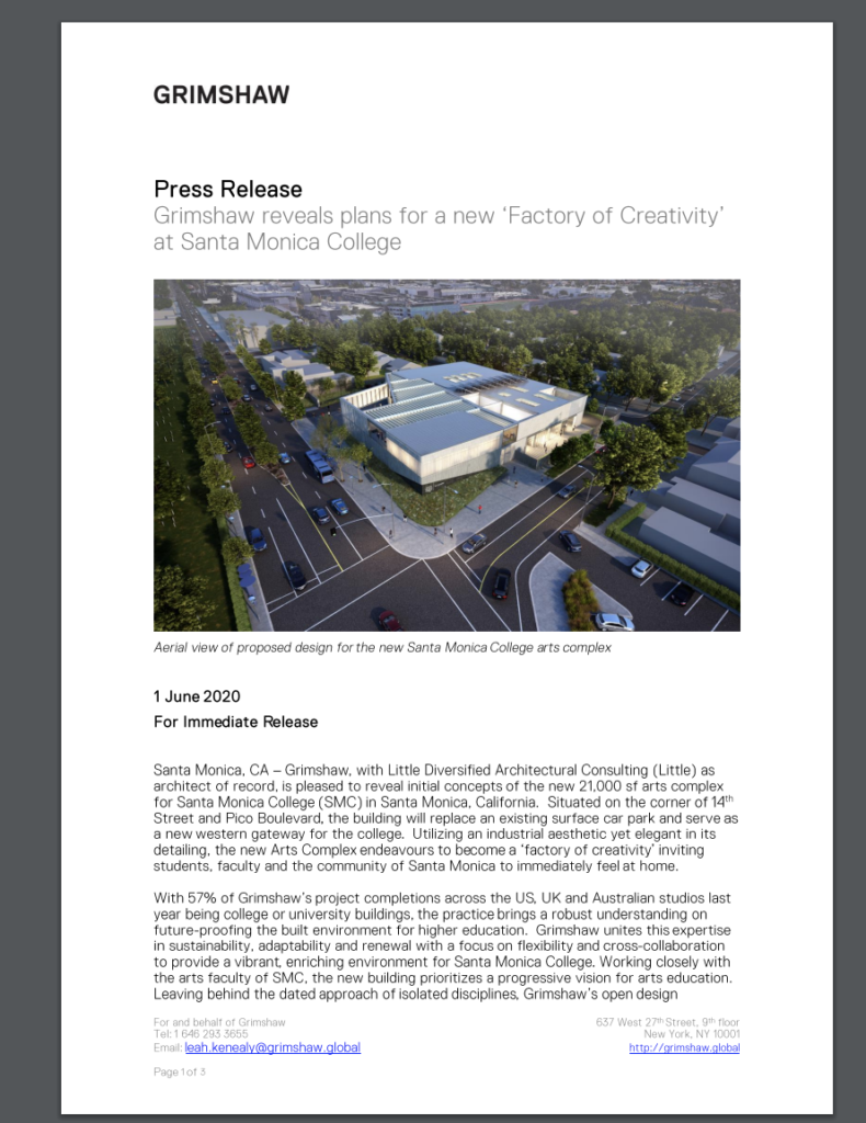 content marketing for architects example press releases - Grimshaw