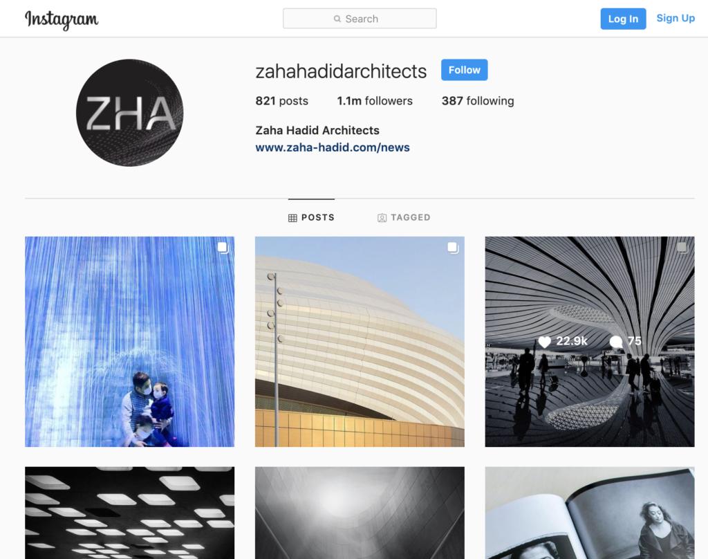 Zaha Hadid social media