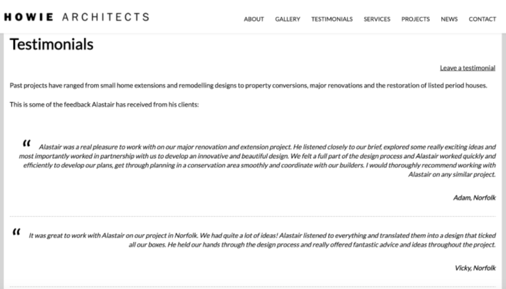 Content marketing examples - Howie Architects Testimonials page