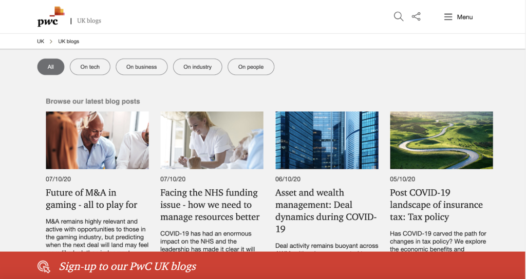 PwC CTA on most pages