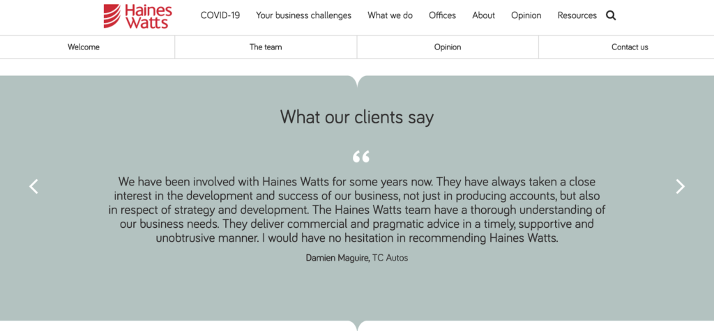 Client testimonials as a strategy -content marketing for business accountants
