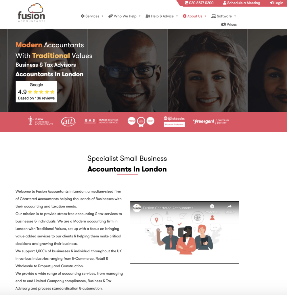 homepage for Fusion accountants - content marketing for accountants example