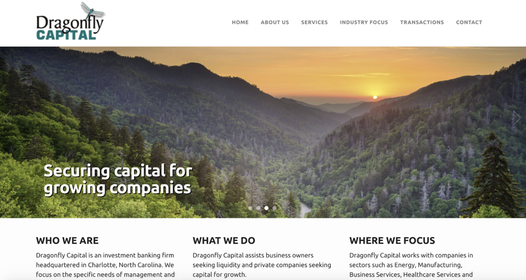 screenshot of dragonfly capital investment banking firm content marketing investment banking